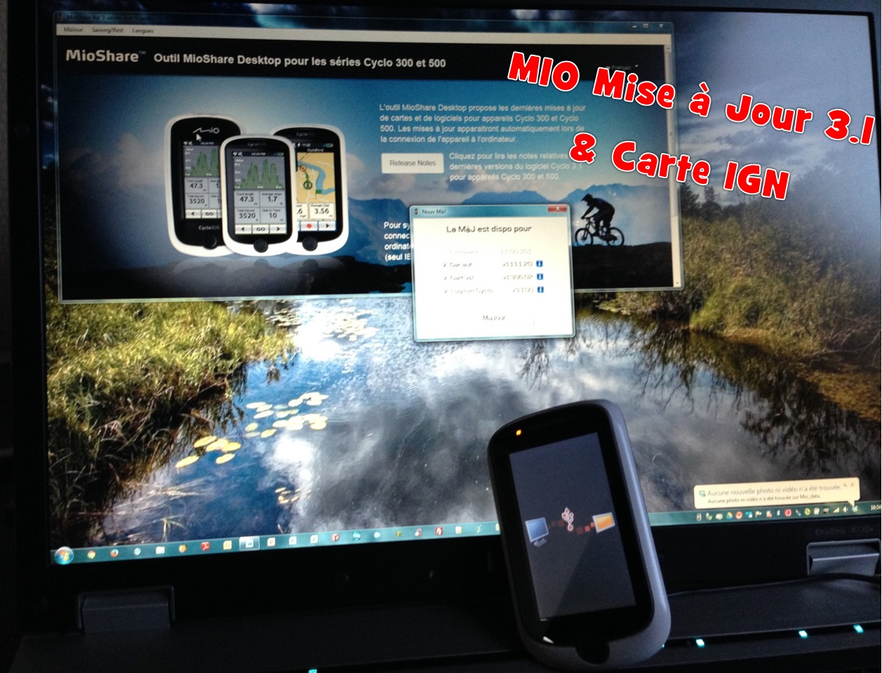 MIO Cyclo en version 3.1 et Carte IGN